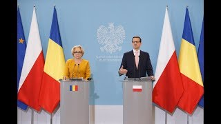Mateusz Morawiecki podczas konferencji z premier Rumunii Vioricą Dăncili thumbnail