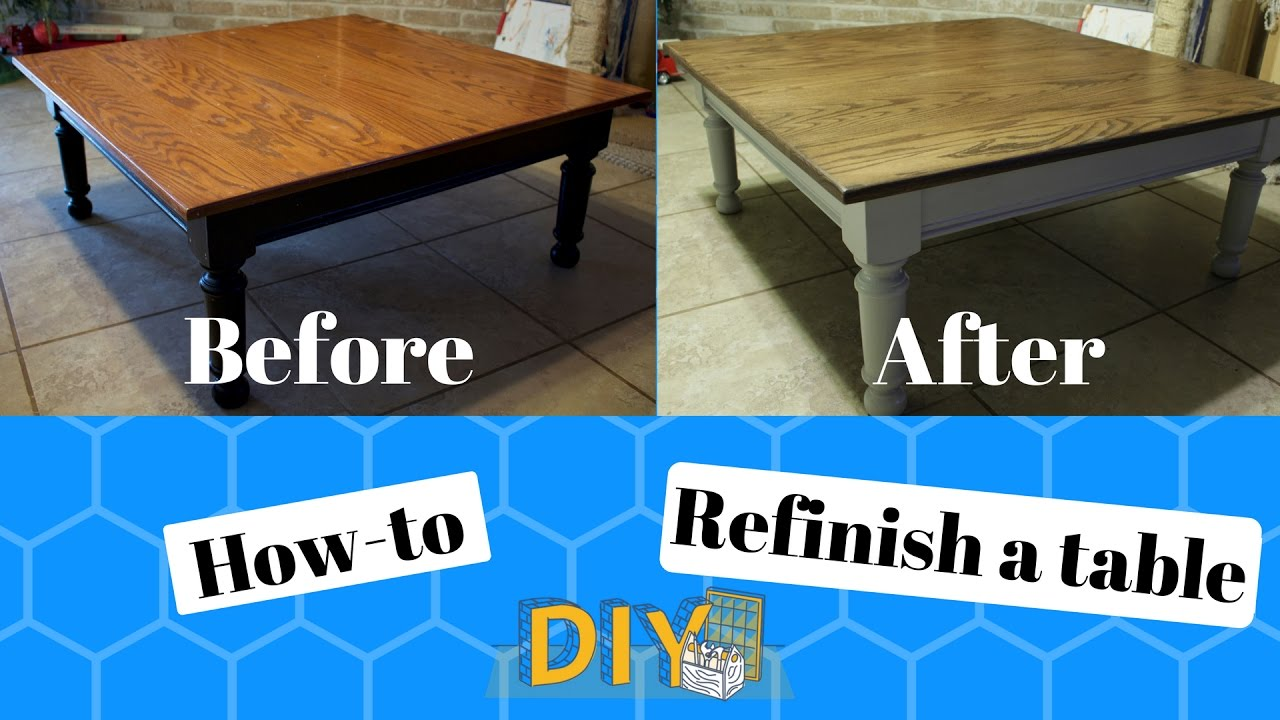 how to refinish a table diy before and after youtube. Black Bedroom Furniture Sets. Home Design Ideas