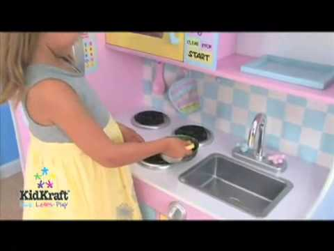 Girls Childrens Large Play Kitchen Wooden Toy Kitchen Video Great