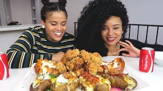 LOADED BAKED POTATOES and Fried Chicken Mukbang