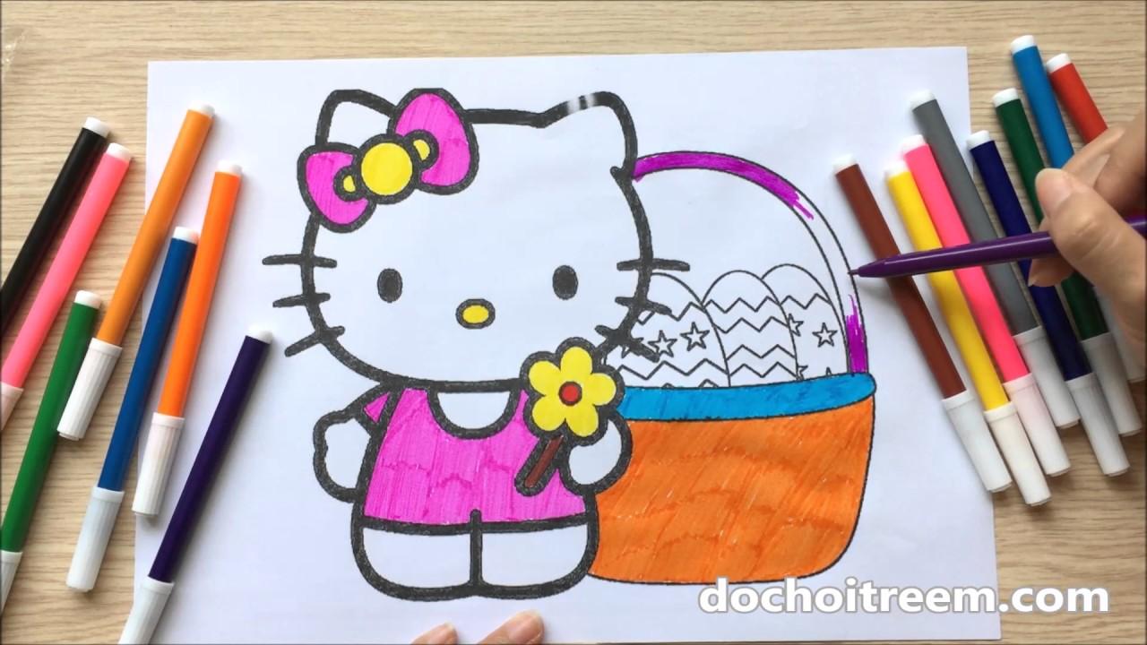 Đồ chơi trẻ em TÔ MÀU TRANH MÈO HELLO KITTY, HỌC TÔ  MÀU – Color Painting, Learn Color (Chim Xinh)