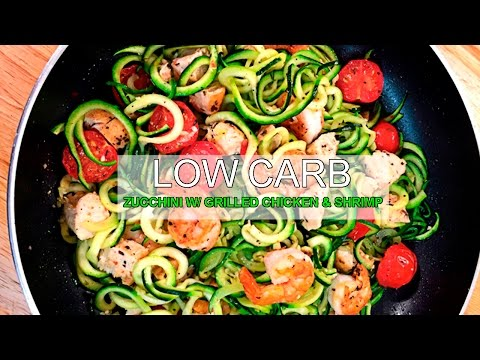 How To Meal Prep - Affordable Zucchini Noodles with Grilled Chicken & Shrimp - Ep 5