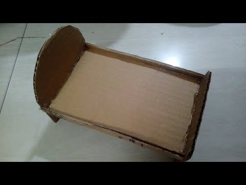 DIY: how to make doll bed using cardboard - for kids - miniature craft