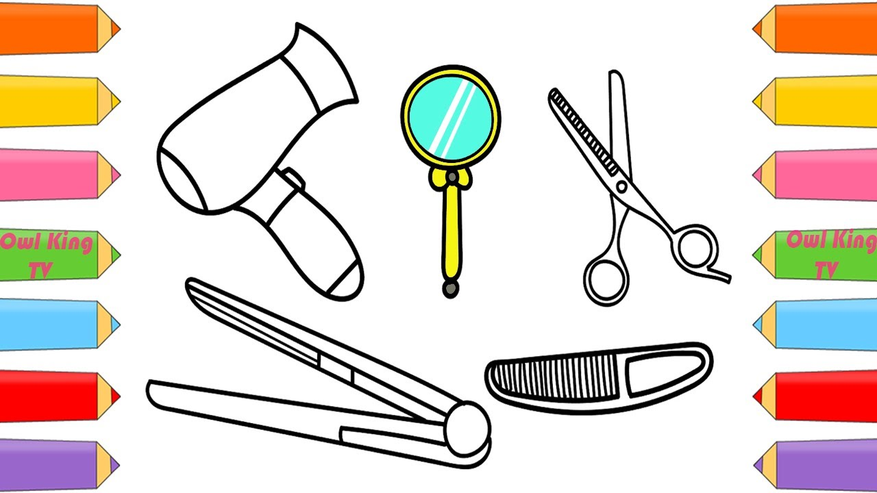 how to draw set beauty hair salon dryer comb scissors coloring pages for kids owl king tv
