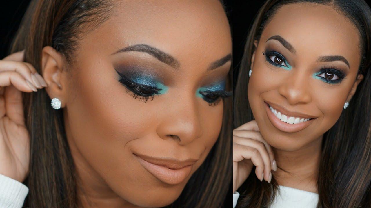 Blue Teal Smokey Eye Makeup Tutorial Alyratv Youtube