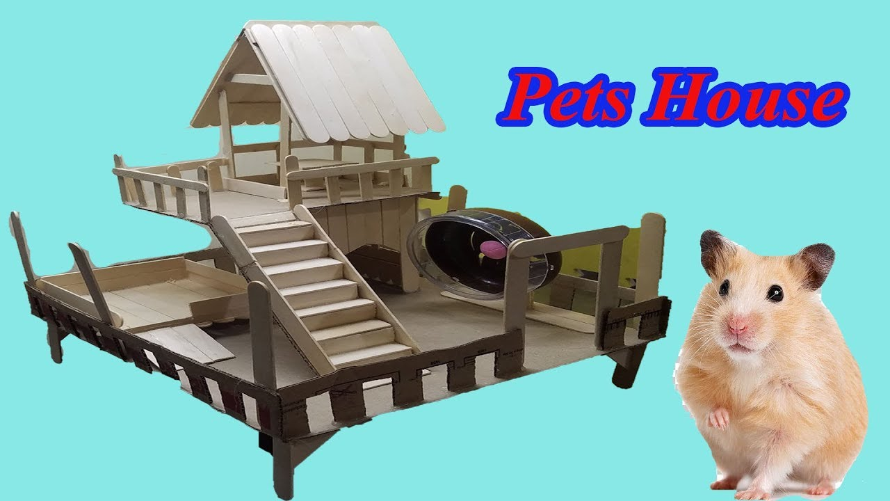 How to Make Popsicle Stick House for Hamster - Diy Pets House