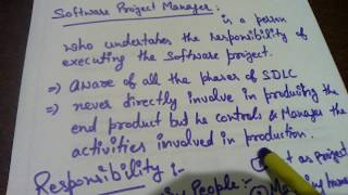 Responsibility of Manager in Software Project Management !! Software Engineering !! BCA !! B.Sc