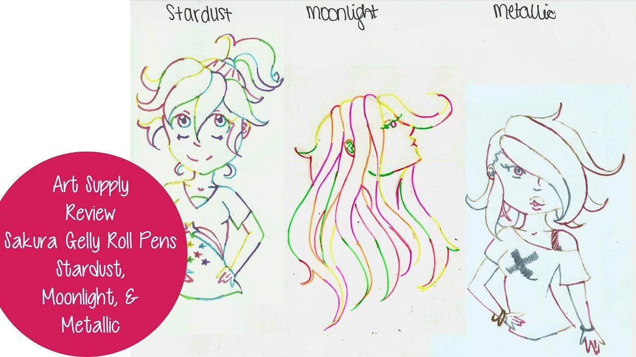 ART SUPPLY REVIEW! Sakura Gelly Roll Pens  Stardust 0ba31ac123162