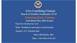 Intermediate Paper-4A : ITL - Topic: Residence and scope of TI Morning Session Date: 24-03-2021