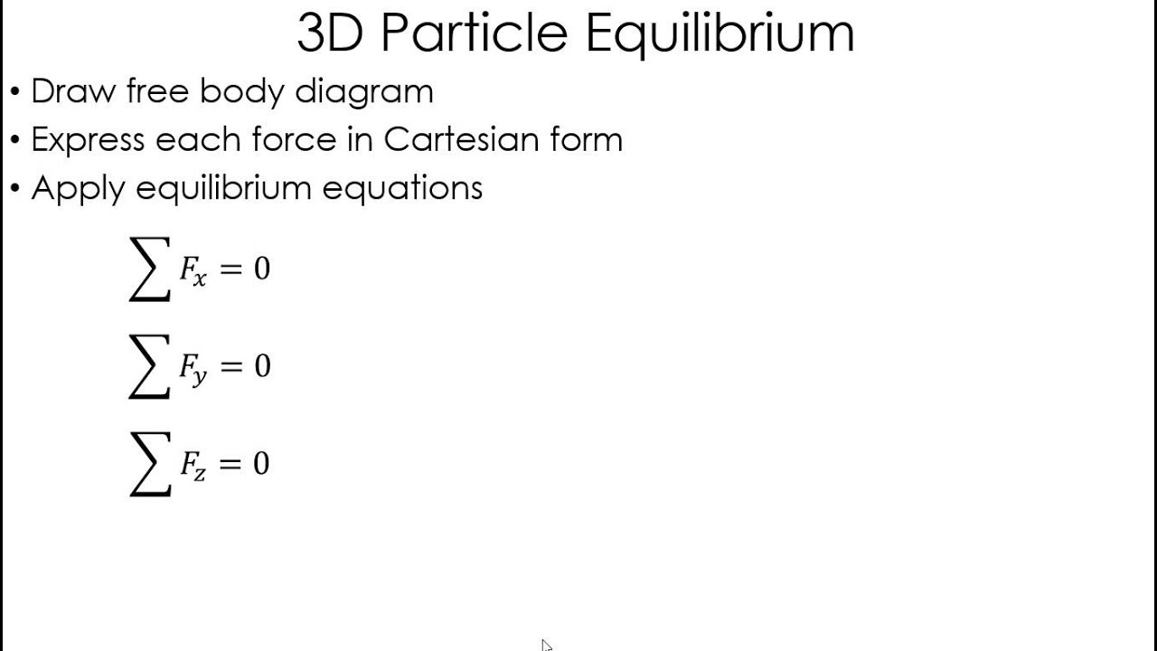 Statics Lecture 3d Particle Equilibrium Youtube Engineering Problem Solutions Free Body Diagram Uwmc