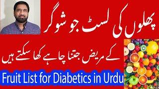 Fruits list  jo sugar patients khas miqdar mein kha sakten hein / Fruits List for Diabetics in Urdu