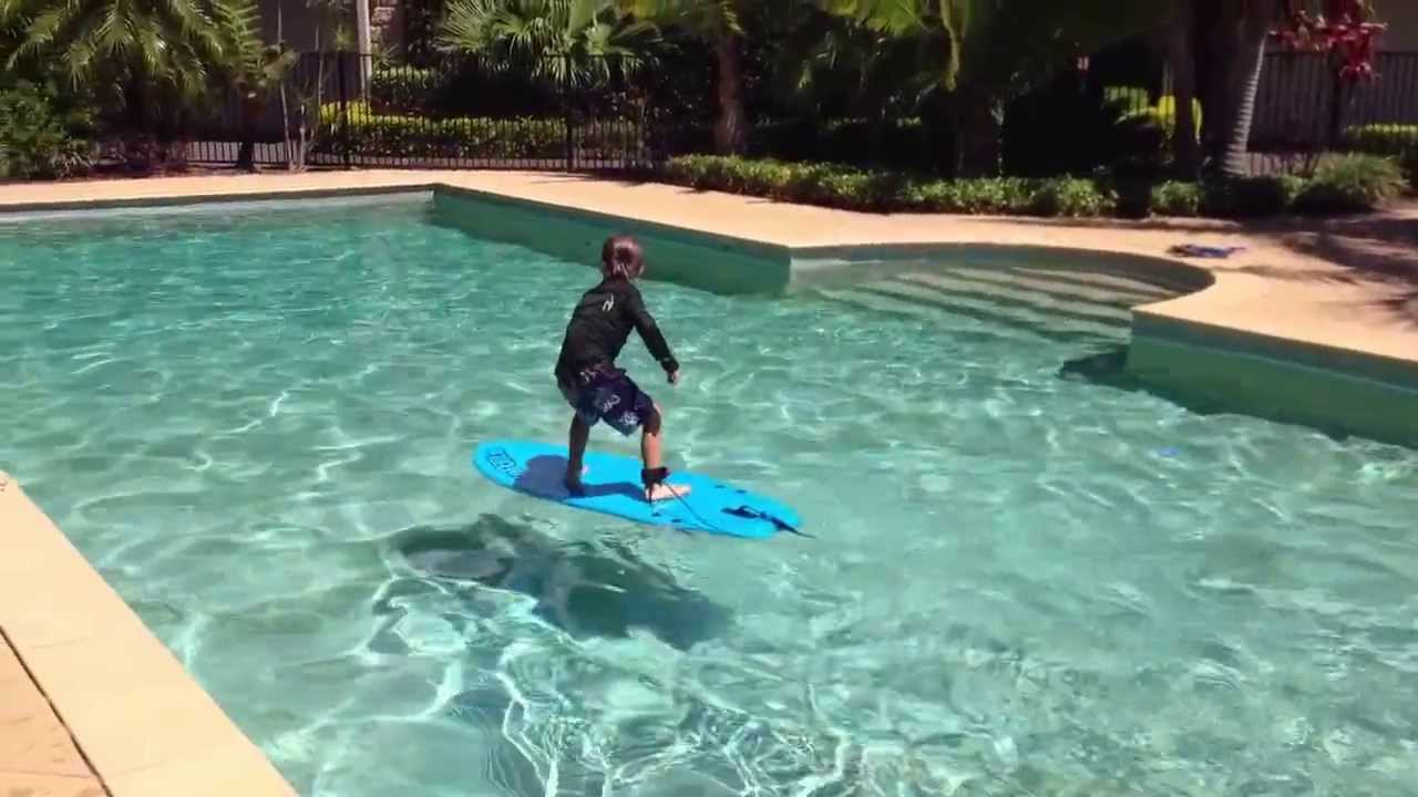Sam aged 4 with his surfboard in the swimming pool youtube - Swimming swimming in my swimming pool lyrics ...