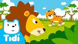 The King of Animals♪   Lion vs Tiger   Sing Along with Tidi Songs for Children★TidiKids