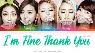 Ladies' Code (레이디스 코드) I'm Fine Thank You Color Coded Lyrics…