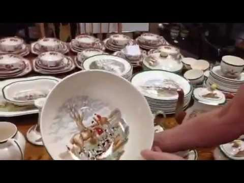 Antique China, Spode Fox Hunt hunting by Herring