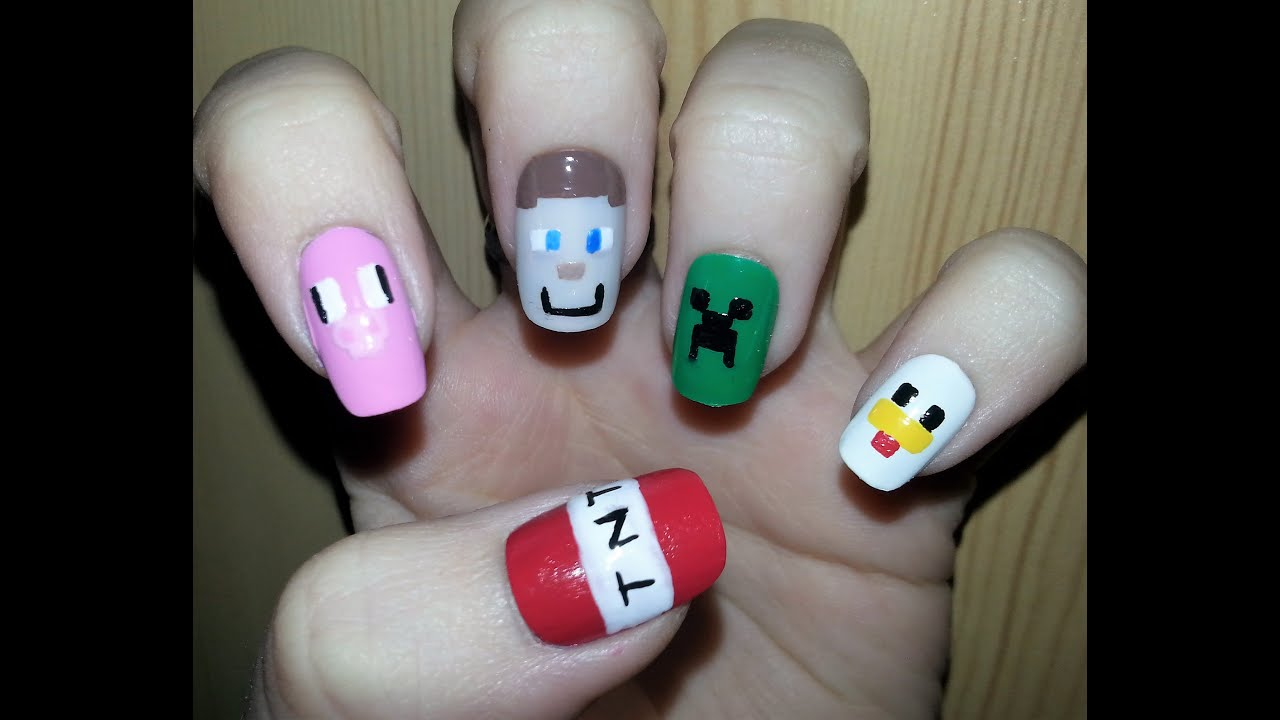 Nail Art Minecraft Design