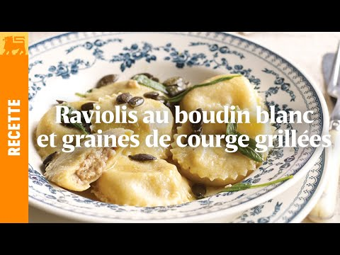 Raviolis au boudin blanc et graines de courge grillées