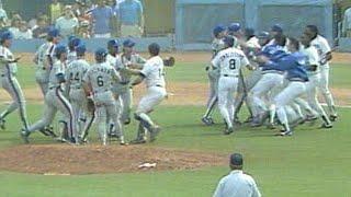 Pedro Guerrero hurls bat near Cone, benches empty