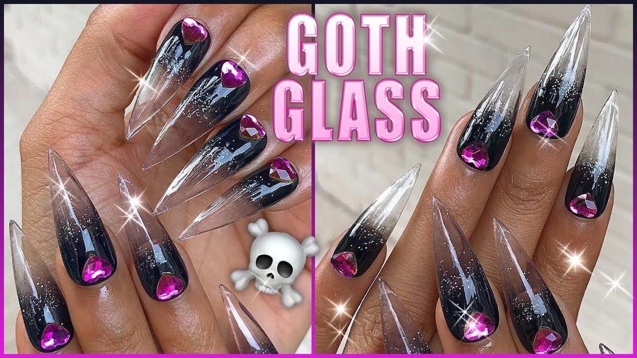 ☠️ GOTH GLASS STILETTO NAILS Black to Clear Gel Ombre ...