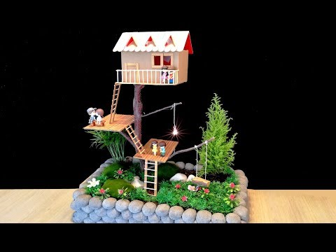 How to make a Beautiful Fairy garden with Cardboard house on Tree / DIY