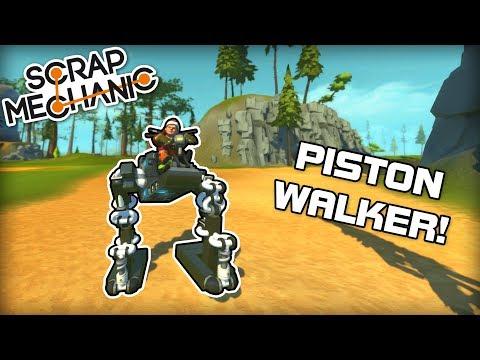 Bipedal Piston Walker! No Stabilizers! (Scrap Mechanic #184)