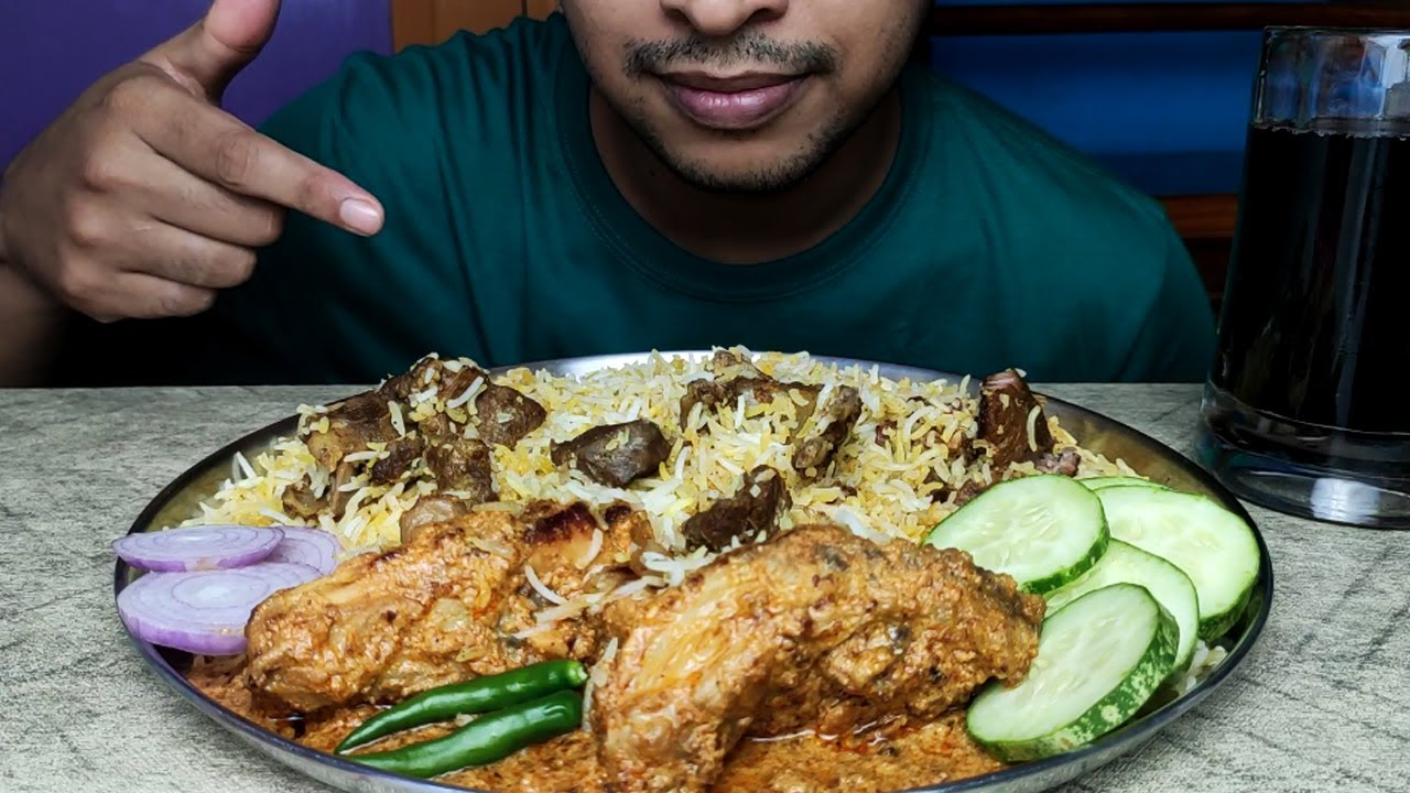 EATING MUTTON BIRYANI WITH CHICKEN CHAAP AND SALAD   BIG BITES   INDIAN FOOD EATING VIDEOS