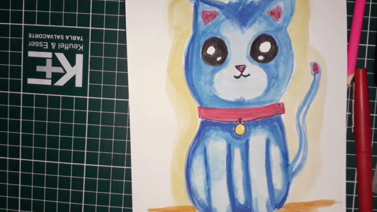 Cómo dibujar un Gato con acuarelas cámara rápida.