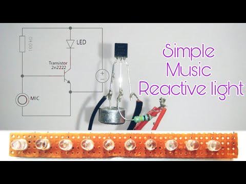 Music reactive led | using microphone | Music reactive led using 2n2222 transistor.