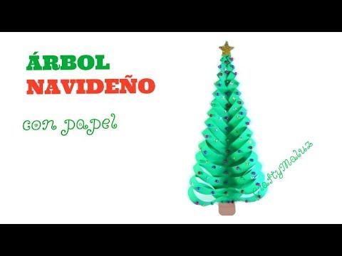 Rbol navide o con papel origami manualidades f ciles - Arbol de navidad con papel ...