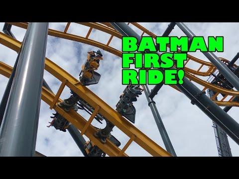 First Ride on Batman Roller Coaster Six Flags Fiesta Texas