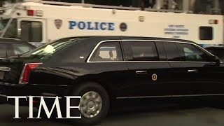 President Trump's New Presidential Limo Made Its Debut In Time For The U.N. | TIME