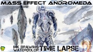 Drawing & Watercolor Time-Lapse Mass Effect: Andromeda