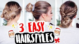 3 EASY 1 MINUTE XMAS HAIRSTYLES 💁🏼🎅🏼🎄 | COCO