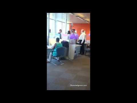 Loudspeaker siren in jobcentre: Mental Health Resistance Network Occupation June 26 2015