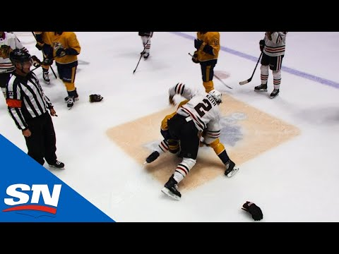 Fight Breaks Out After Predators' Miikka Salomaki Hits Blackhawks' Duncan Keith
