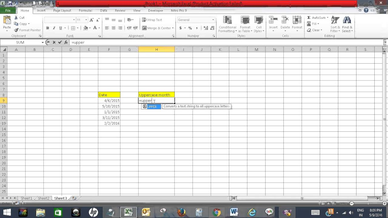 Format dates to uppercase months in excel youtube format dates to uppercase months in excel spiritdancerdesigns Gallery
