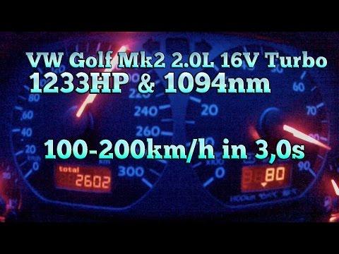 Brutal Golf MK2 1233HP 16V Turbo Acceleration From 100-200kmh In 3,0s
