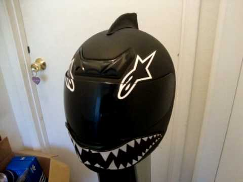 Custom Motorcycle Helmet Stealth Shark With Eyes And Graffiti - Custom motorcycle helmet decals