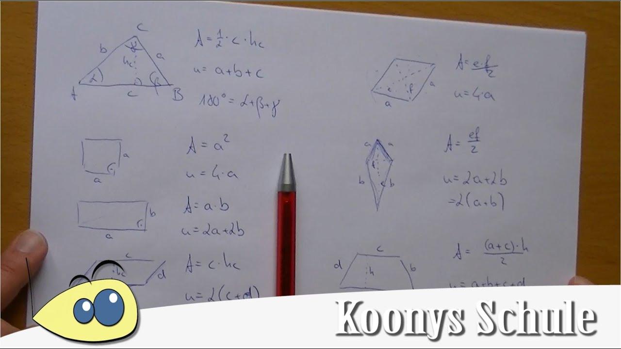 Flächeninhalt, Umfang, Dreieck, Raute, Trapez, Vierecke | MSA ...