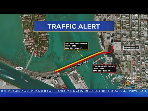 Miami Beach Traffic Alert Due To MacArthur Causeway Lane Closures