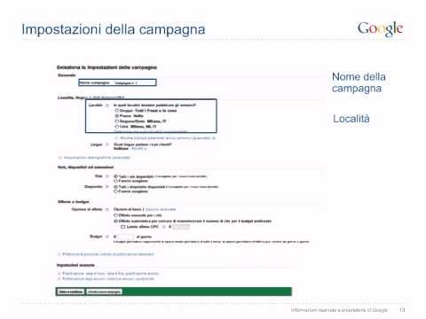 Creazione di un account Adwords