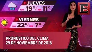 Clima para hoy 29 de noviembre de 2018