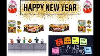 Funny Kids New Years Resolutions! Roblox Figures~Kinder Surprise Eggs~Crusty Bars + More!