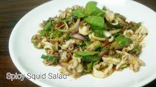 Thai Foods |  Spicy Squid Salad | Lab Pla Muk