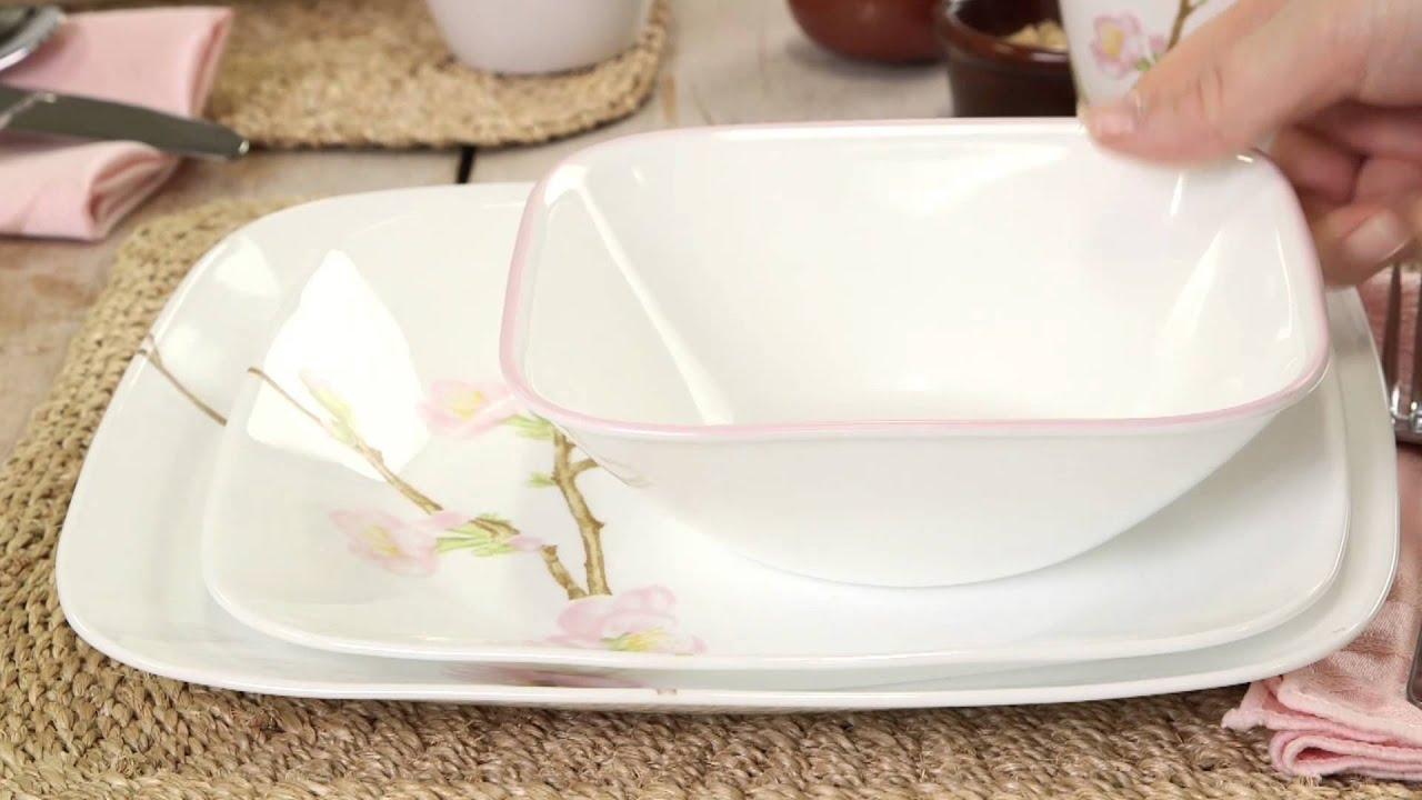 & Corelle - Cherry Blossom 16 Piece Dinnerware Set - YouTube