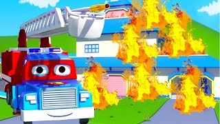 Carl the Super Truck is the Firetruck in Car City | Cars & Trucks construction cartoon for children