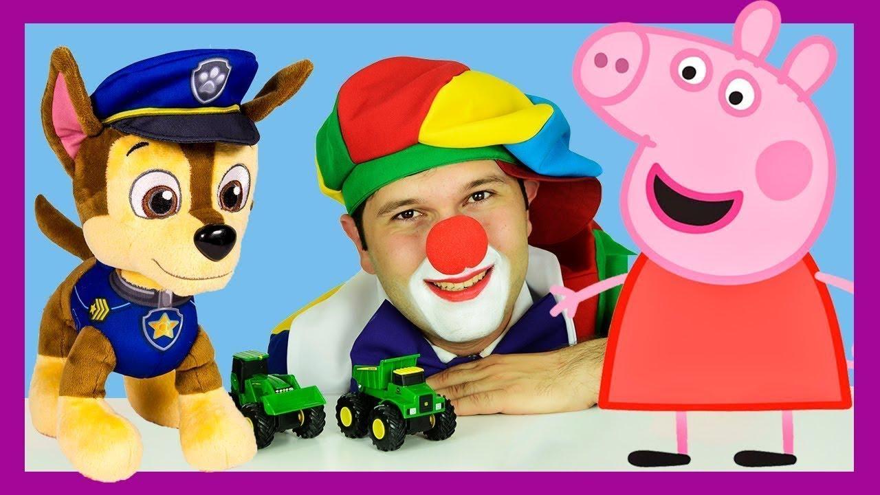 Peppa Pig, Paw Patrol Marshall & Chase rescue Truck & Bulldozer