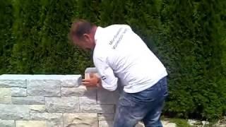 Naturstein Mauer Massiv Schnellbausystem Gartenmauer