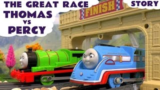 the great race thomas friends percy and trackmaster toys streamlined thomas with minions unboxing