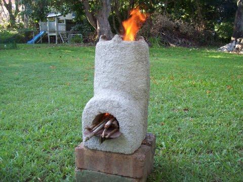 Pumice concrete rocket stove heat test asurekazani for Decorative rocket stove